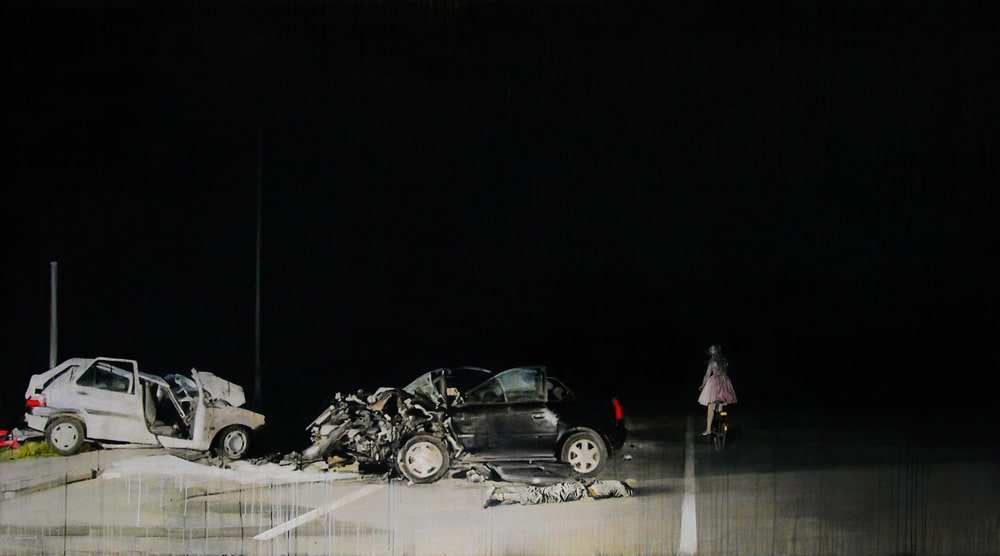 """The denial of death"" · acrylic on canvas · 150x270cm · 2011 · Property of the Museum of Visual Arts (MAVI), Chile"